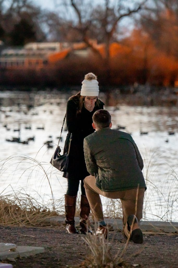 Denver Pary surprise proposal at the duck pond