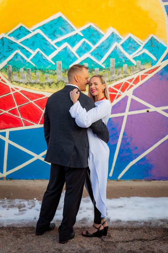 Colorado Engagement Portraits at the Pikes Peak Urban arts district