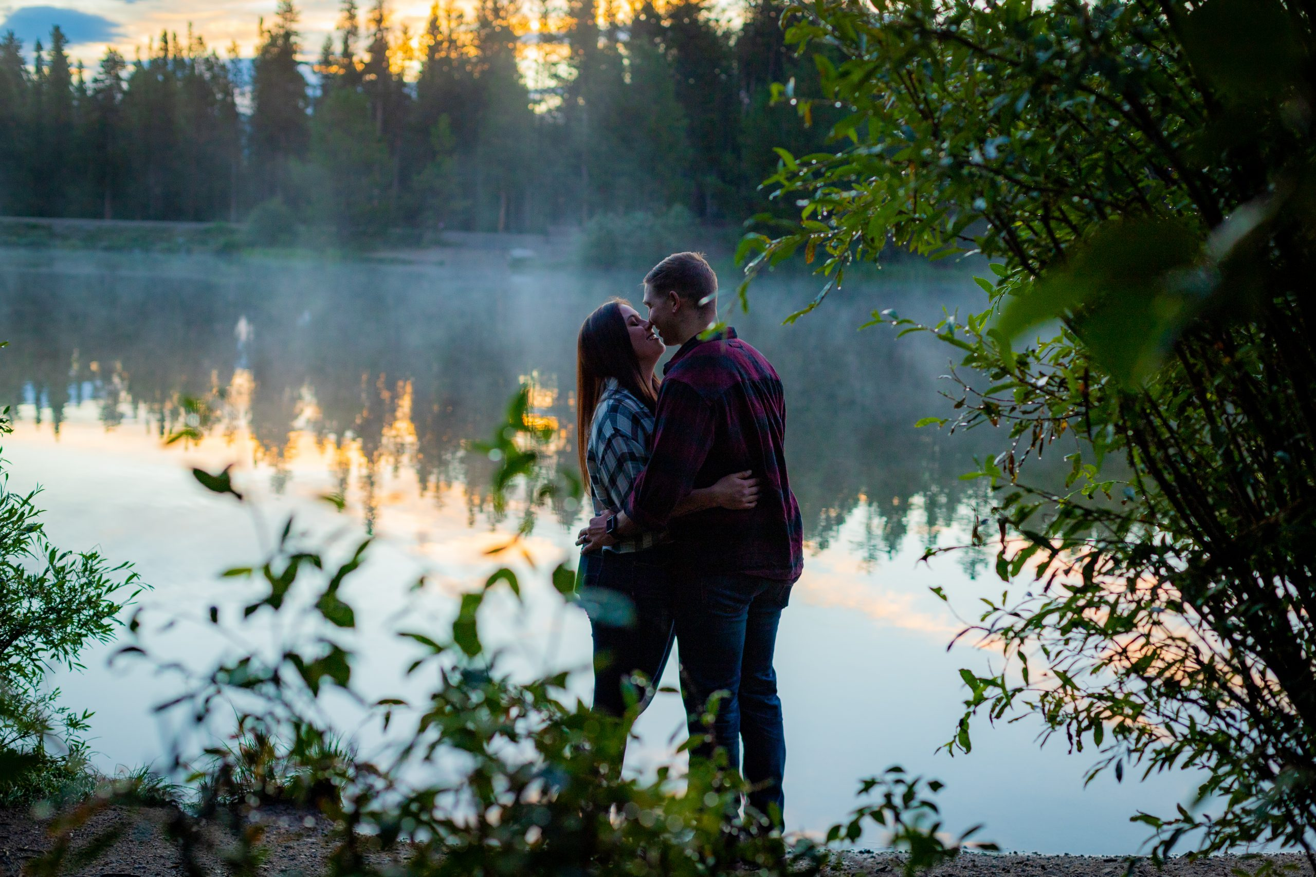 couple embracing at sunrise