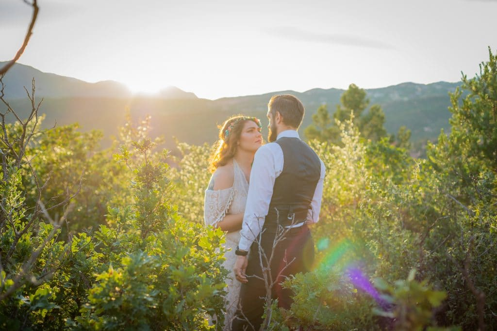 Boho wedding portrait at Garden of the Gods