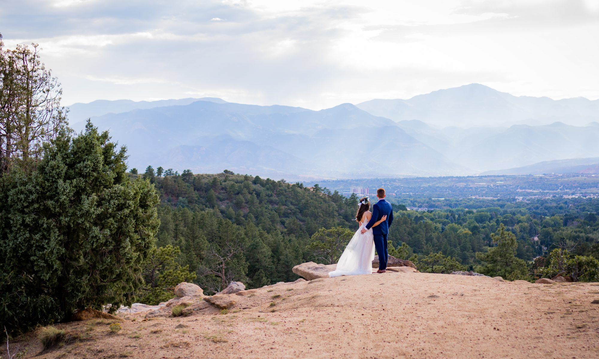 Bride and Groom at Mountain Top Wedding portraits