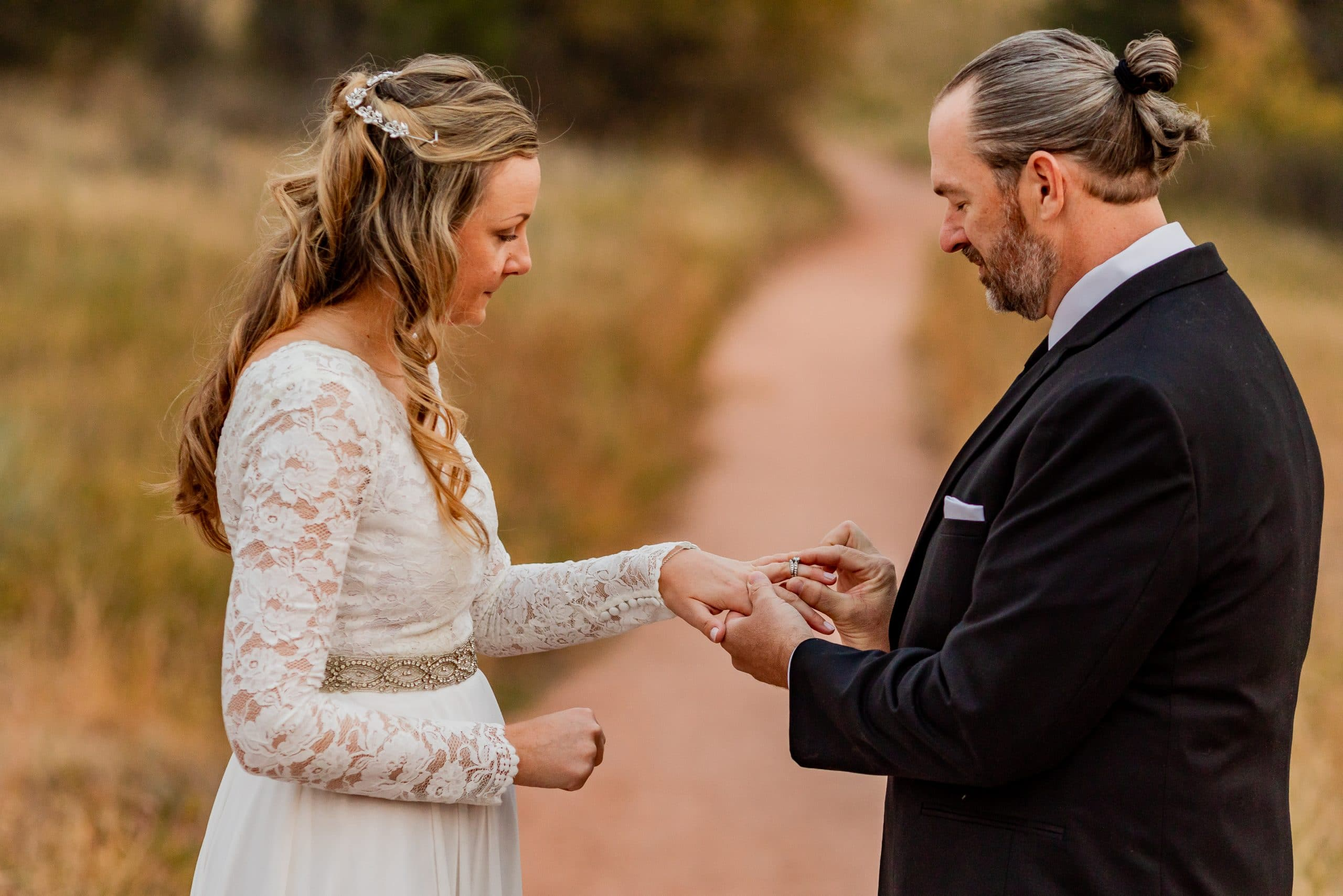 Exchanging Rings at Garden of the Gods during an elopement