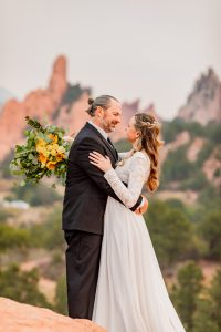 Elopement at sunrise in Garden of the Gods