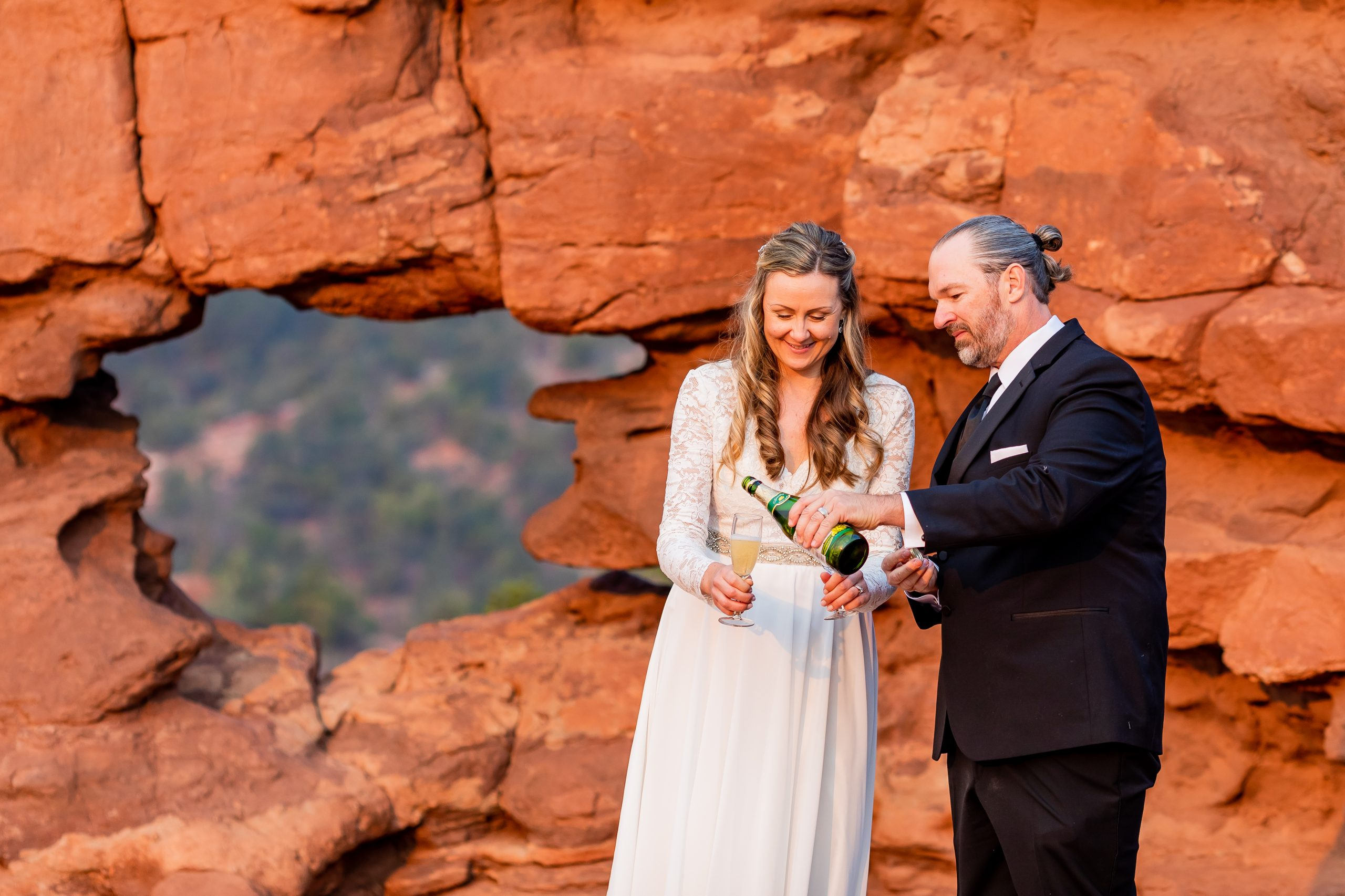 Toasting your Elopement at Garden of the Gods