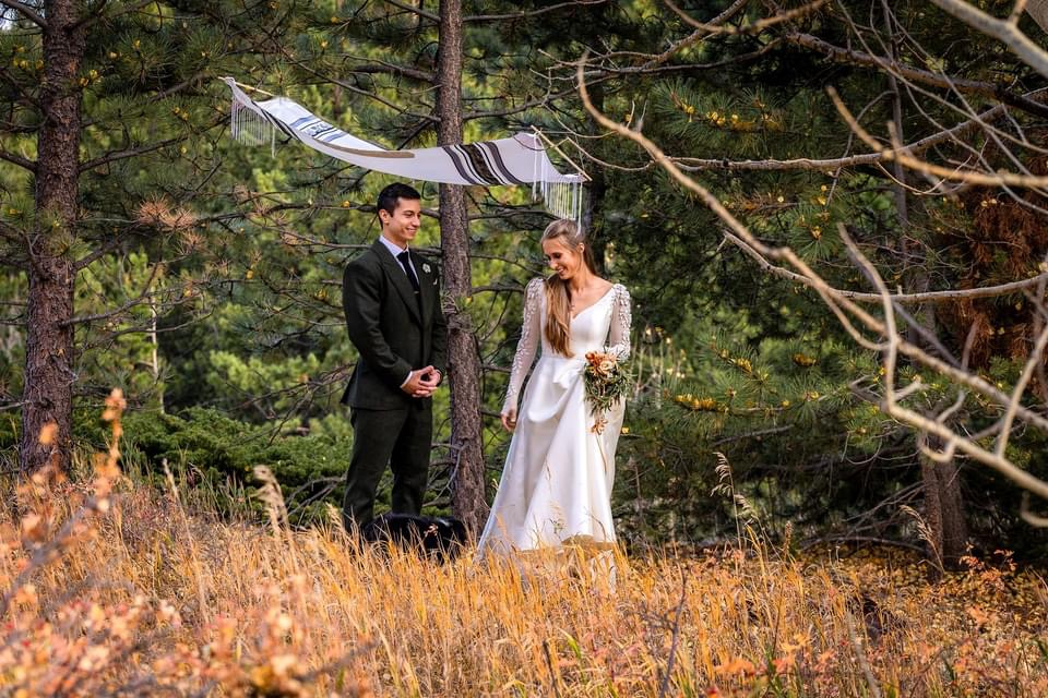 couple at an outdoor Colorado October Jewish elopement