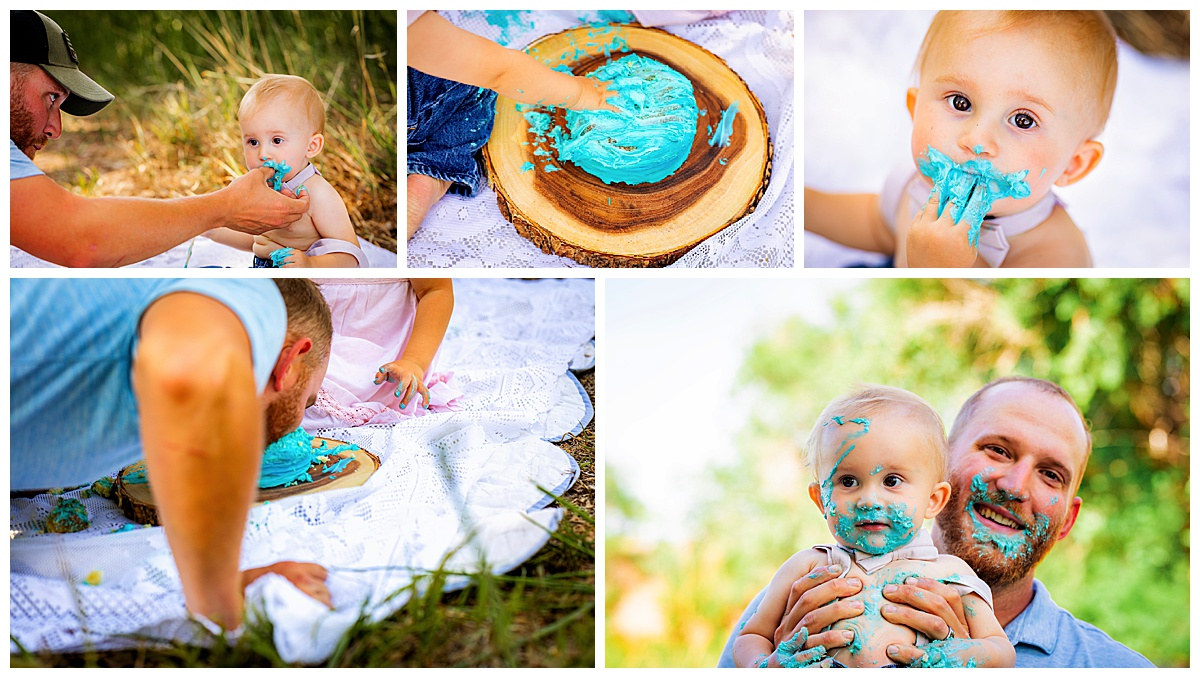 Colorado cake smash outdoor during summer pictures with dad helping