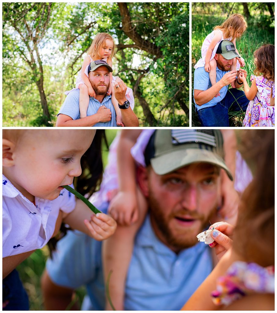 Dad catches a butterfly for his kids to explore during family photo session in Colorado
