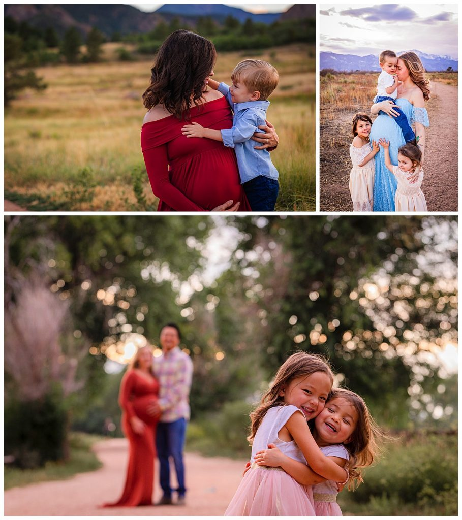 Schedule maternity pictures when siblings are happy bump pictures with siblings