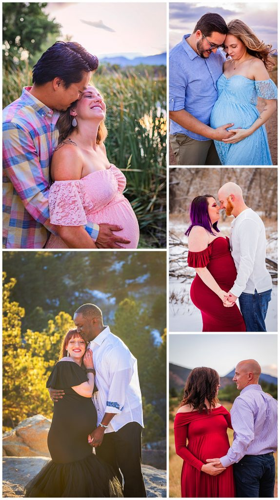 Couples maternity pictures scheduled in Colorado Springs with mountain views