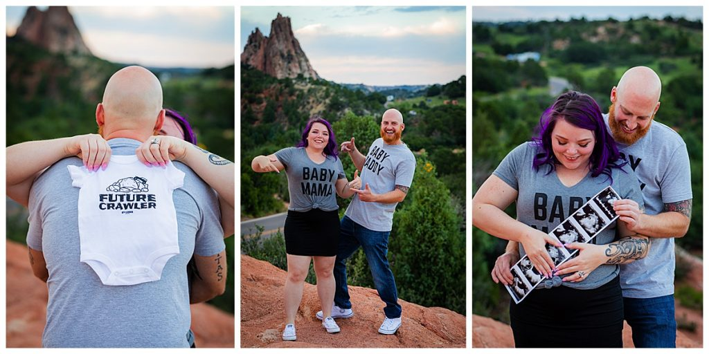 cute baby announcement with mom and dad wearing matching shirts scheduled maternity session at 12 weeks
