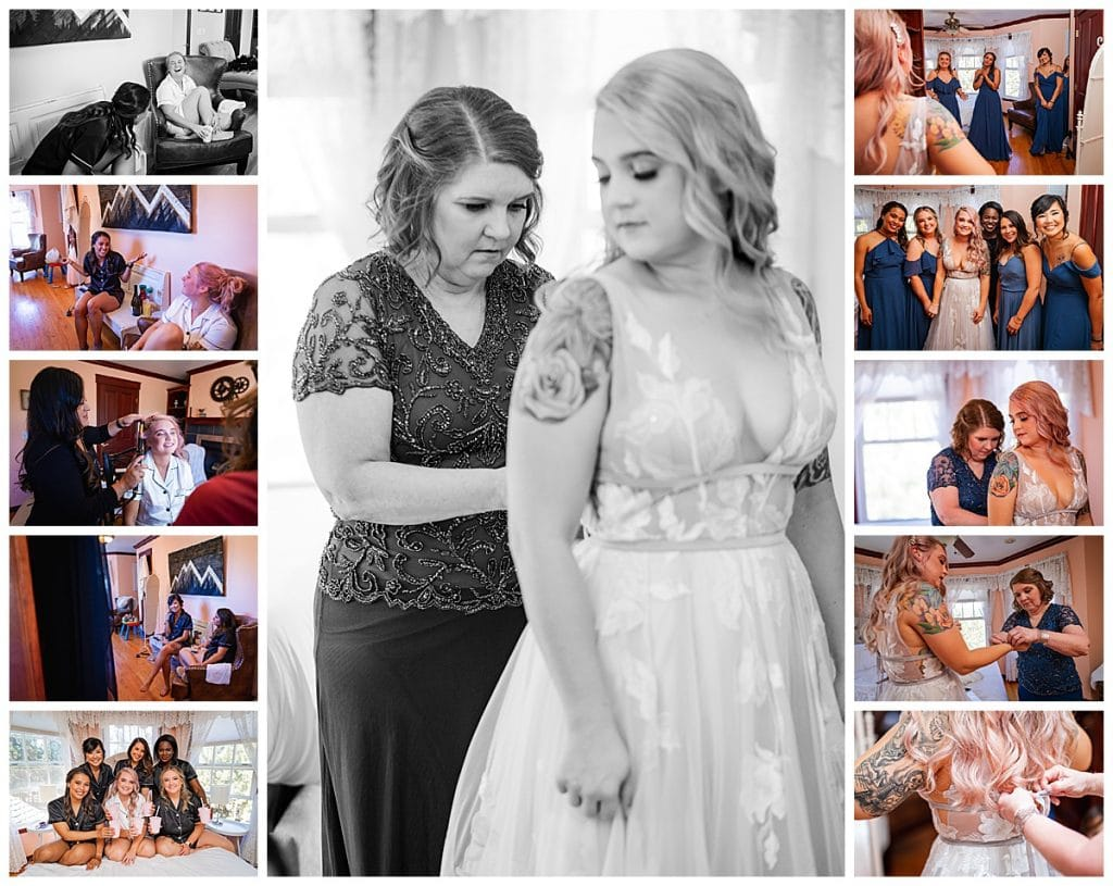 The getting ready process of this lovely wedding in the Woodland Park Airbnb.