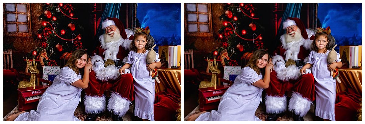 Santa with girls in Colorado Springs wearing vintage nightgowns