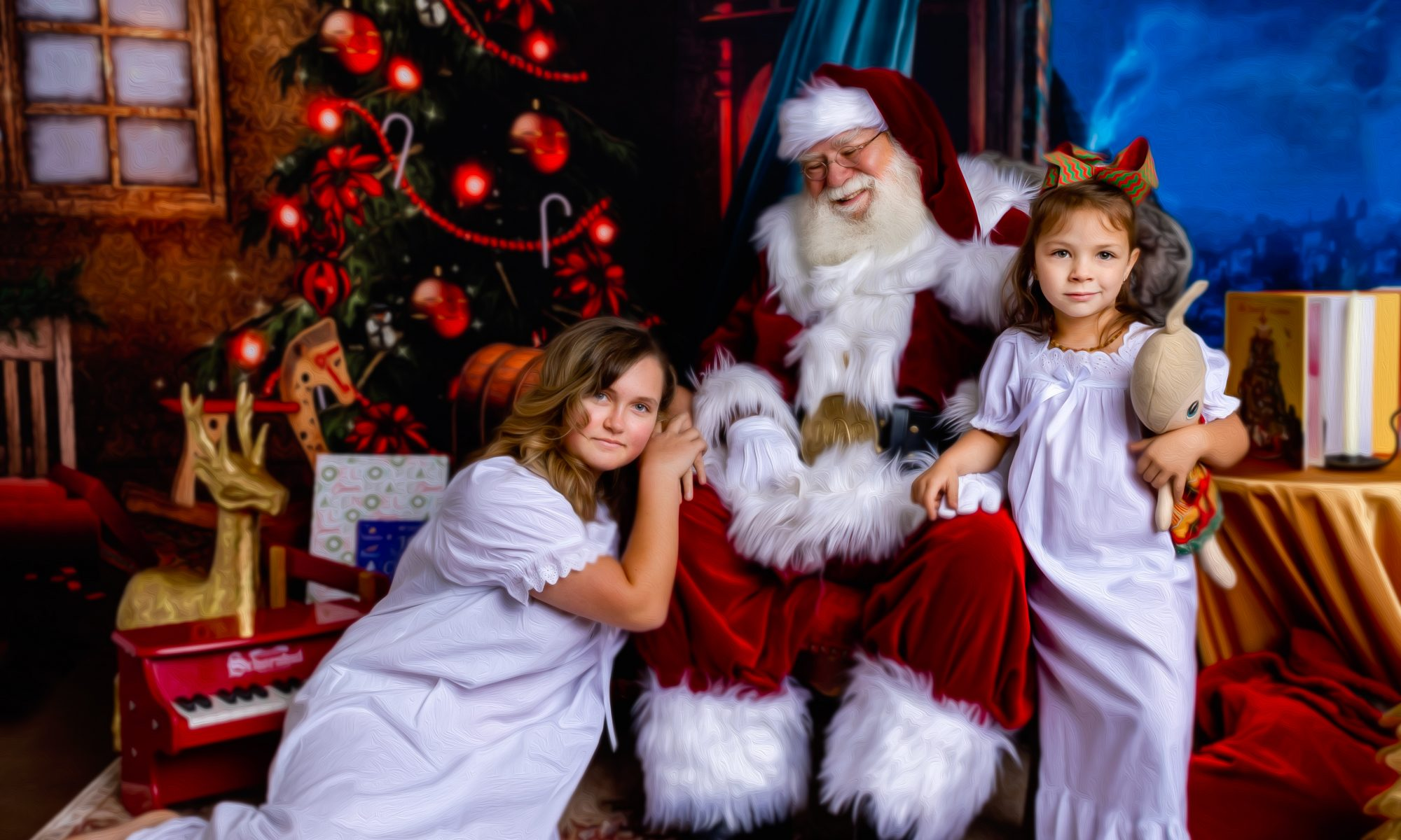 Santa and Children Set up for Fine Art Style portraits